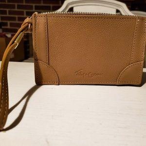 Tan leather wristlet
